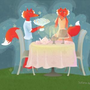 foxes having dinner