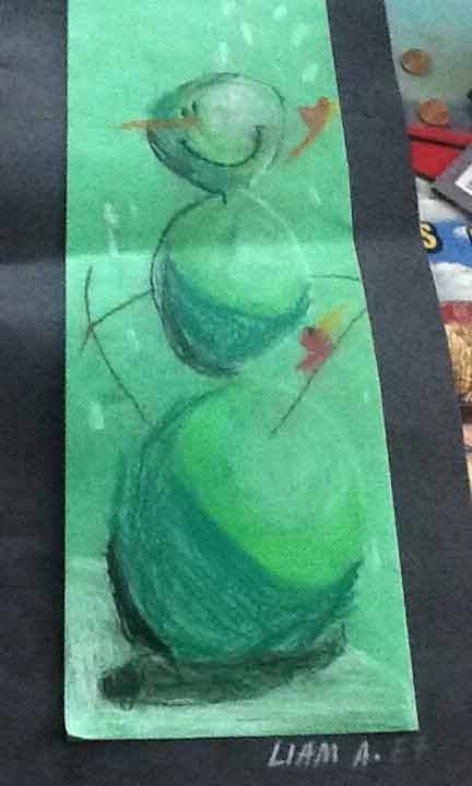 """Snowman"" by Liam John Alex. Note the shading and the beautiful shade of green. The splash of color and the falling snow."