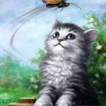 Kitten & Butterfly illustration 1